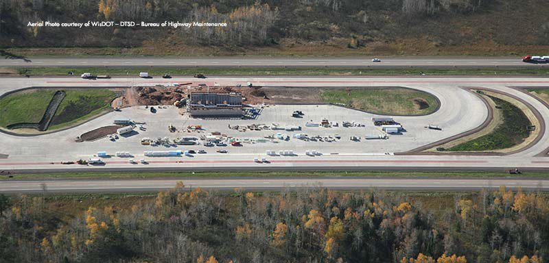Construction Administration on the WisDOT SWEF Weigh Scale in Superior, Wisconsin - Krech Ojard - aerial provided by WisDOT