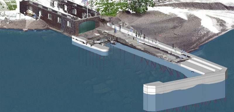 3d model over 3d scan point cloud of Glenssheen Pier rehabilitation design